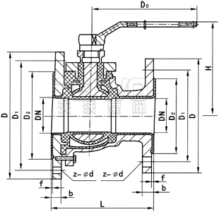 衬氟放料球阀结构图