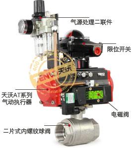 Q611F二片式气动内螺纹球阀实物图