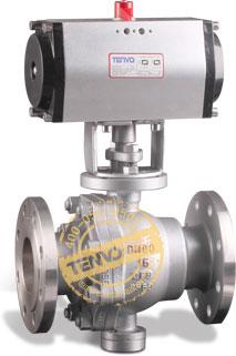 装GT系列气动执行器气动固定球阀实物图