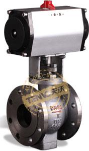 装GT系列气动执行器气动偏心半球阀实物图