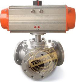 装配AT执行器气动Y型三通球阀实物图