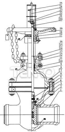 核岛双闸板闸阀结构图