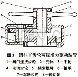 圆柱直齿轮两级增力驱动装置结构图